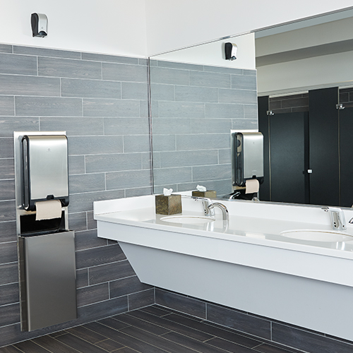 A clean, hygienic and efficiently upgraded workplace restroom.